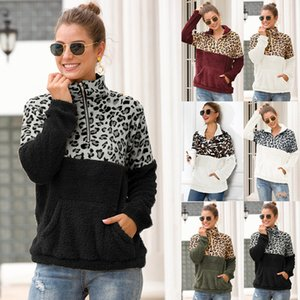 10 cores Sherpa Mulheres Leopard Patchwork Pullovers inverno longo casaco com tops bolso luva camisola Zipper macio velo camisola Outwear