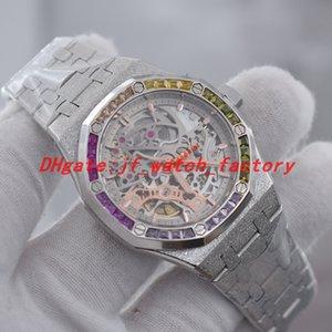 NOVO arco-íris diamante bisel mulheres relógios Geada ouro esqueleto discagem automática movimento 37 milímetros relógio mecânico um relógio de pulso senhora