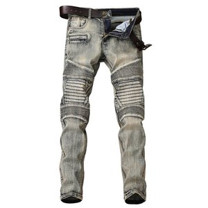 Tendência nostálgica motocicleta Jeans magro dos homens Crease Linha Micro Pequenas Mens Hetero Casual calças compridas 29-38