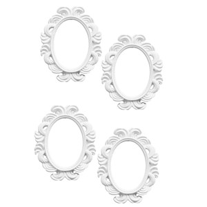 4x Oval Picture Frame Baroque Frame 96x78mm, White Baroque Vintage Style Decorations