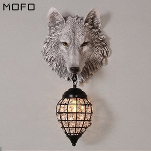 Vintage Home Decor Wall Lamp Wolf Resin Glass LED Wall Lamps Gold Luxury Restaurant Kitchen Decorative Lights Mirror Light