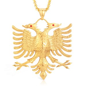Soitis Albanien Flagge Adler Anhänger Russisches Emblem Halskette Wappen Doppeladler Edelstahl Anhänger Kette J190713
