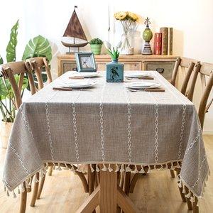 Romanzo Толстая окрашенная пряжей льняная ткань синий серая полоска кисточкой скатерть отель рождественские украшения ткань для кафе-бар стол Y19062103
