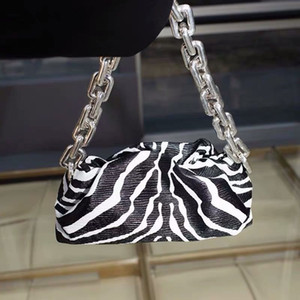 Soft Voluminous Clutch With Square Ring Chain Shoulder PU Strap Zebra Print Sling Bag Big Silver Chain Fashion Handbags For Girl