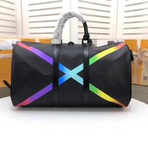 고전적인 무지개 모양 X 큰 여행가방 베개 Duffle 관차 디자이너는 진짜 가죽 핸드백 수용량 스포츠 어깨 가방 가죽 가방