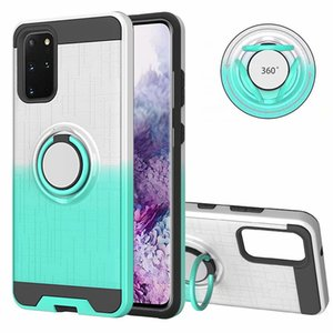 Hybrid Shockproof 360 Car Holder Finger Ring PC+TPU Gradient Phone Skin Cover Case for Samsung Galaxy S20 PLUS S20 Ultra A51 A71