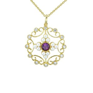 Temperament hollow pattern pendant cross shell beads Amethyst 14K gold-plated copper Qiu Dongkuan wild-chain fashion sweater