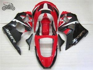 kit livre chinês feito sob encomenda carenagem para a Kawasaki Ninja ZX6R 1998 1999 carenagens ABS motocicleta preta vermelhos definir ZX6R 98 99 OT20
