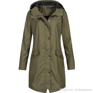 Mulheres Designer Jacket sólida Brasão For Women Long Sleeve Ladies Casacos com capuz Plus Size Mulheres Moda Coats Cor Trench