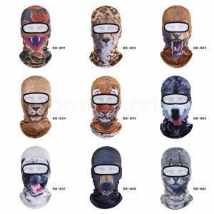 Inverno all'aperto Animal Balaclava 3D Print cane gatto tigre in bicicletta sci Beanie piena della maschera di protezione del cappello Collo di copertura copricapo LJJA3280-14