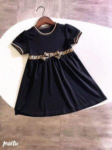 Tasarımcı Kız Elbise Harf F F Çocuklar Bow Sevimli Elbiseler Elegant Kısa Kollu Etek Lüks Logo Bebek Kız Giyim