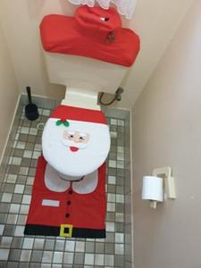 Decoración de Navidad para Inicio de baño WC cubierta de asiento del conjunto de libro Alfombra Natal Adornos de Navidad de Santa Claus Año Nuevo decoración de Navidad