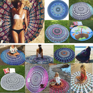 Mandala Beach Towel Round Beach Blanket Polyster Printed Tablecloth Bohemian Tapestry Yoga Mat Covers Beach Shawl Wrap Picnic Rug HH-C44