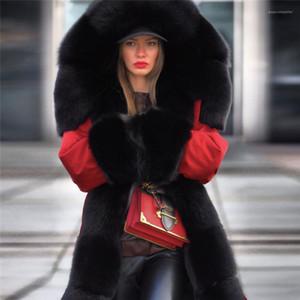 Long Parkas épais de fourrure Designer chaud vers le bas Manteaux coupe-vent femmes d'hiver