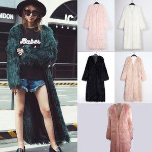 Lanshifei chica joven de piel falsa Abrigo largo abrigo largo chaqueta de la piel de las mujeres 2018 de invierno nuevo estilo del diseño Parka Señora del club