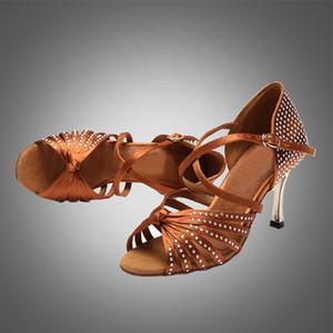 envío libre de la danza de satén zapatos de baile S5545 Crystal Rhinestone Latin Dance Salsa en zapatos stock salón de baile zapatos