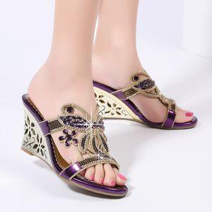 Ladies Sandals Slanted Heel Sexy Hollow Out Sandalia Feminina High Heels Crystal Set Sandals Crystal Shoes Fashion