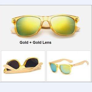 M14 Retro Bamboo Wood Sunglasses Men Women Brand Designer Goggles Gold Mirror Sun Glasses Shades lunette oculo