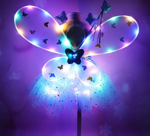 Menina LED Butterfly Wings Set com GlowTutu Fada saia Wand Headband Fairy Princess Light Up partido do carnaval Traje 2-8T