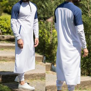Кафтан Мужчина мусульманской Thobe Исламской Arabic Одежда с длинным рукавом Топы Robe Саудовской Аравии Традиционных костюмов Мужчина Мусульманских Топы