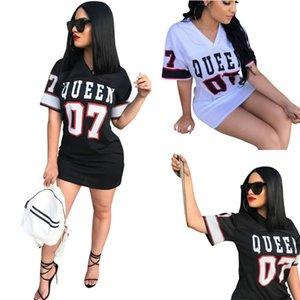 Kadınlar casual dress oymak seksi yaz mektup kraliçe numarası 7 baskılı beyzbol ince mini elbiseler stil moda hip hop kısa kollu dress