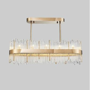 modern crystal chandelier led Bedroom lamp Hall chandelier simple rectangular bar dining room lighting creative meals lamps