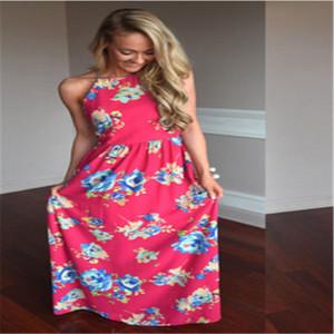 2017 Seksi Kadınlar Maxi Boho Elbise Halter Boyun Çiçek Kolsuz Moda Yaz Elbise Long Beach Elbise vestidos Parti Elbise yazdır