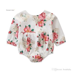 Baby Girls Printed Romper Infant Baby Summer Thin Cotton Floral Long Sleeve O-Neck Onesies Romper 3-24M Baby Girls Triangle Romper Jumpsuit
