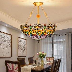 final vitrais alta lâmpadas Living room bar estudo lustre Tiffany barroco lâmpada quarto de estilo europeu anti-lustre