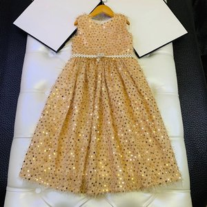 European and American children's wear 2020 summer new style Sleeveless heavy industry sequined pearl belt girl baby dress