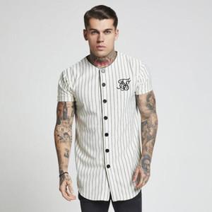 Moda Yaz 2018-2019 Erkekler Streetwear Hip Hop T-Shirt Sik Ipek Işlemeli Beyzbol Forması Çizgili Gömlek Erkekler Marka Giyim Y19060601