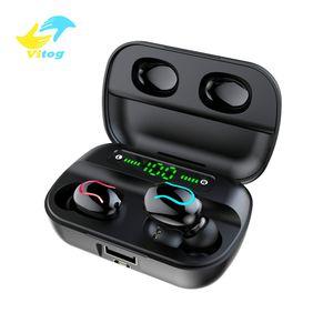 Vitog HbQ Q82 Kablosuz Bluetooth 5.0 Kulaklık TWS Kulak Gerçek Kablosuz Kulaklık Kulaklık 8D Stereo Gürültü Önleyici Kulaklık