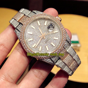 Top-Version 126333 126334 116244 Diamanten Zifferblatt ETA A2824 automatische mechanische Herrenuhr 904L-Stahl-Diamant Iced Out Full Case Sportuhren