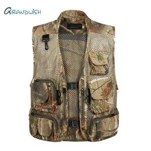 Grandwish Mens Camo fotografia colletto Gilet multi tasche della giacca maschile maniche Protezione Camouflage Gilet, DA759