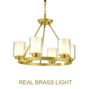 Lámpara de araña moderna de cobre europea Lámpara LED Lámpara de araña dorada de vidrio y latón Lámpara colgante circular redonda