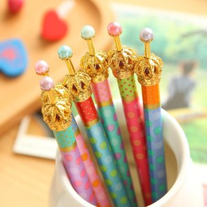 0.5mm Cute Kawaii Metal Crown Ballpoint Pen Dot Ball Point Pens for Writing Stationery School Office Supplies Free shipping