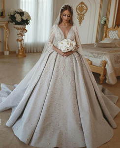 African Beads Wedding Dress 2020 V Neck Lace Appliques Long Sleeve Ball Gown Bridal Gowns Sweep Train robes de mariée