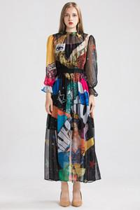 2020 مدرج الصيف انن المرأة فساتين O عنق طويل الأكمام المطبوعة مصمم أزياء فساتين عادية الخريف