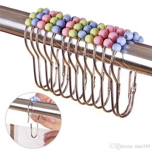 Nova cortina de chuveiro Anéis Ganchos de aço inoxidável Banho Easy Clip Glide Hooks Duche Polido cortina anéis de cortina Ganchos 2998