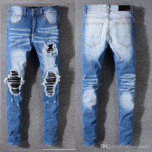 Men jeans AMIRI brand jeans mens casual hole shorts washed old patch pants TOP quality embroidery denim pants feet pants men brand pan