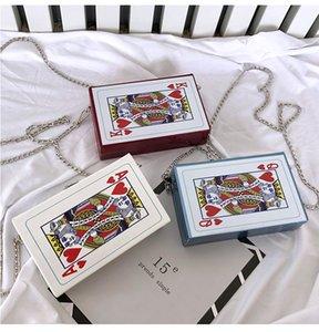 Die Frauen-Ketten-Schulter Crossbody Beutel Fun Poker Card Freizeit Mode Letters Small Square Trendy Weibliche Handtaschen