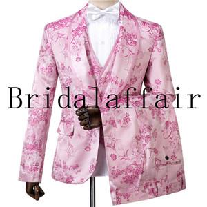 Senhores de alta qualidade cereja Flores rosa Jacquard Noivo Smoking xaile lapela Groomsmen dos homens Ternos Blazers (Jacket + Calças + Vest)
