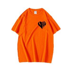 Suyu wrld Gençler Kalp Tees Yaz Tasarımcı Erkek Mürettebat Boyun Tatlı Renkler Kısa Kollu T-shirt Çift Gevşek Casual Tops yazdır