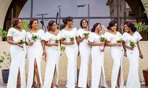 Старинные белые V-образным вырезом для подружки невесты платье платье платье плюс размер с короткими рукавами атлас Средний щель демиазель D'HONNEUR PROM платье