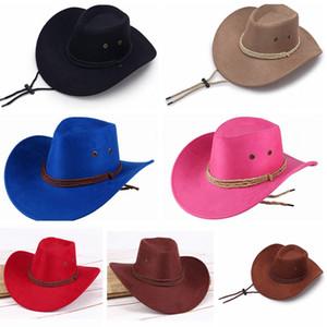 Moda unissex chapéus de vaqueiro Homens Retro Sun Visor Cavaleiro Hat Cowgirl aba larga Chapéus Exteriores Viagens Sun Headwear LT-TTA1083
