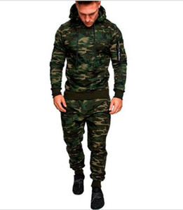 Mens Designer Camouflage Tracksuits Fashion Cardigan Langarm Hoodies beiläufige lange Hosen Herren Aktive Kleidung