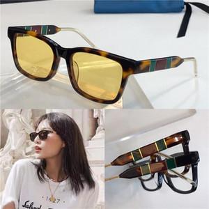 New óculos fashion pop designer de óculos de sol retros 0602 quadro quadrado vermelho pernas contraste cor verde de qualidade superior estilo simples atmosfera