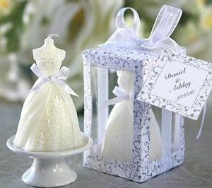 10pcs White Elegant Boxed Pretty Bridal Bride Gown Dress Design Candle Wedding Party Decor Bridal Shower Boxed Gift