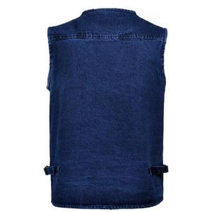 Spring Man 5XL Male Plus Size Jeans Men Multi Pocket Photography Mens Denim Vest Sleeveless Jacket Colete