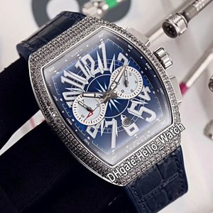 New Saratoge Vanguard date Steel Case V45 CC DT YACHTING OG automatique Mens Watch cadran bleu Diamond Bezel en cuir bleu Montres Hello_Watch